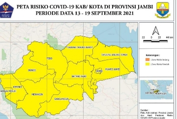 Pasien Terkonfirmasi Covid-19 Provinsi Jambi Turun Drastis, Semua Wilayah Zona Kuning